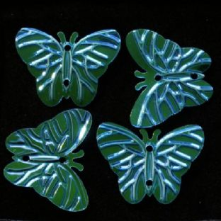 DISCONTINUED 22mm Blue/Green Iridescent Butterfly Sequins x 150